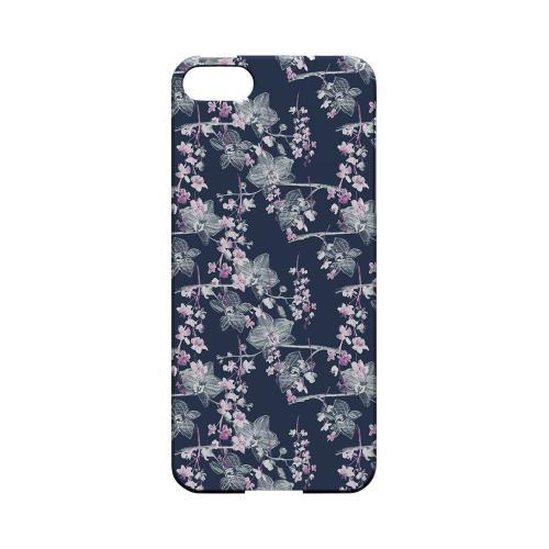 Pink/ White Floral on Blue - Geeks Designer Line Floral Series Hard Case for Apple iPhone 5/5S