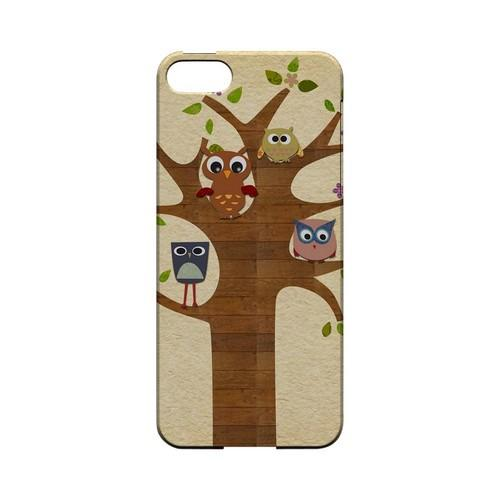 Owls on Brown Tree - Geeks Designer Line (GDL) Owl Series Hard Back Cover for Apple iPhone 5/5S