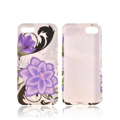 Apple iPhone 5/5S Hard Case - Purple Lily on White