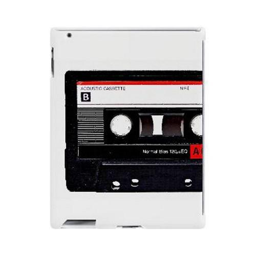 Geeks Designer Line (GDL) Retro Series Apple iPad (2nd & 3rd Gen.) Slim Hard Back Cover - Black Cassette Close Up