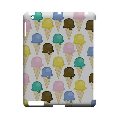 Assorted Ice Cream Cones Geeks Designer Line Candy Series Slim Hard Back Cover for Apple iPad (3rd & 4th Gen.)