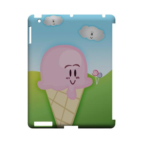 Cute Pink Ice Cream Cone Geeks Designer Line Candy Series Slim Hard Back Cover for Apple iPad (3rd & 4th Gen.)