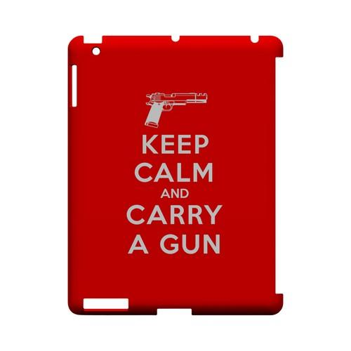 Red Carry A Gun Geeks Designer Line Keep Calm Series Slim Hard Case for Apple iPad (3rd & 4th Gen.)
