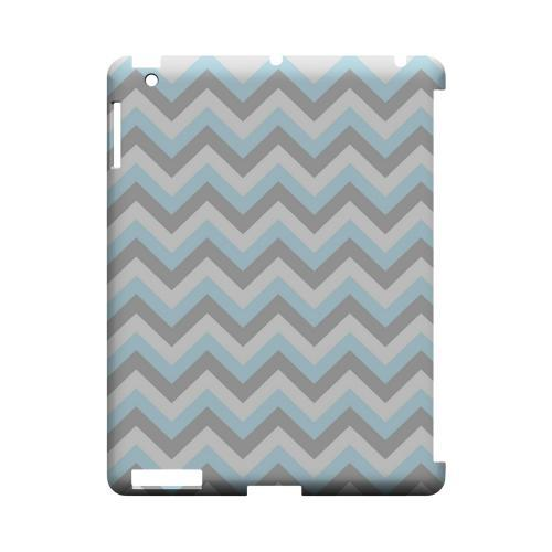 Blue on Gray on White Geeks Designer Line Zig Zag Series Slim Hard Case for Apple iPad (3rd & 4th Gen.)