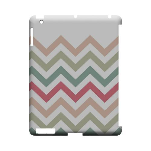 Green/ Red on White Geeks Designer Line Zig Zag Series Slim Hard Case for Apple iPad (3rd & 4th Gen.)