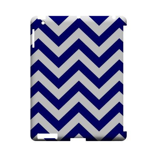 Navy Blue on White Geeks Designer Line Zig Zag Series Slim Hard Case for Apple iPad (3rd & 4th Gen.)