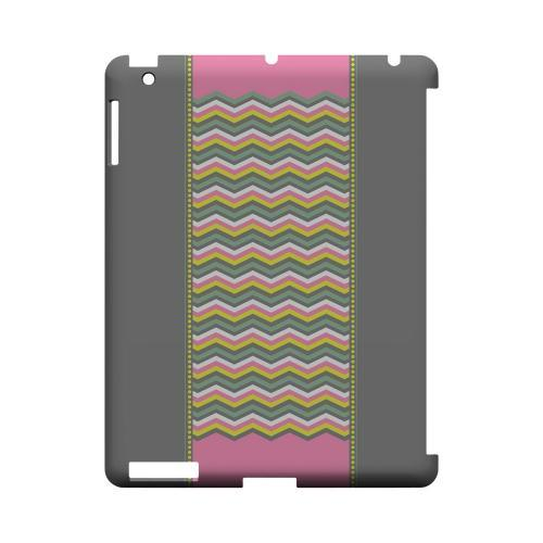 Green/ Yellow Dots w/ Pink & Gray Geeks Designer Line Zig Zag Series Slim Hard Case for Apple iPad (3rd & 4th Gen.)