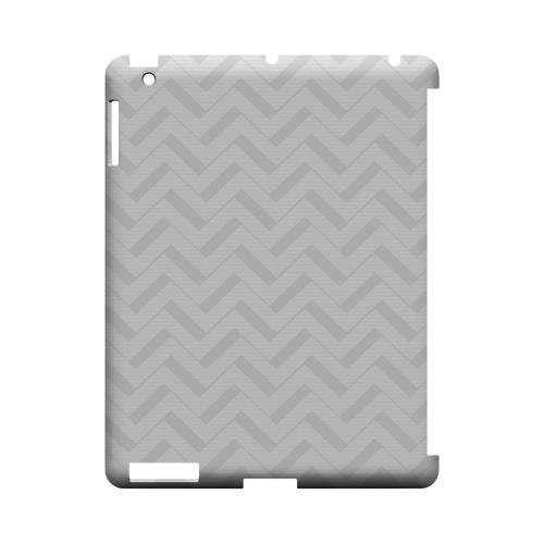 Light Gray/ White 3D Geeks Designer Line Zig Zag Series Slim Hard Case for Apple iPad (3rd & 4th Gen.)