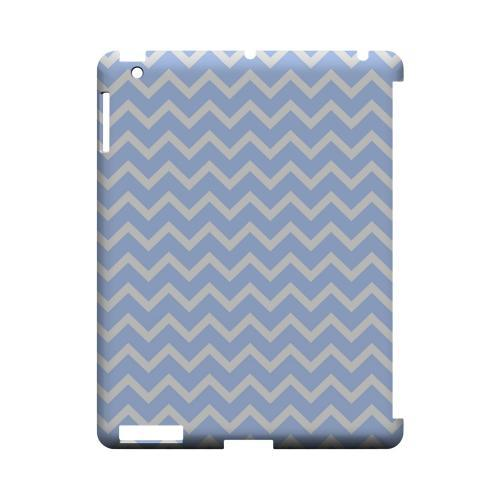 White on Light Blue Geeks Designer Line Zig Zag Series Slim Hard Case for Apple iPad (3rd & 4th Gen.)