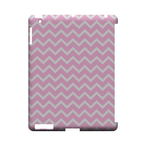 White on Pink Geeks Designer Line Zig Zag Series Slim Hard Case for Apple iPad (3rd & 4th Gen.)
