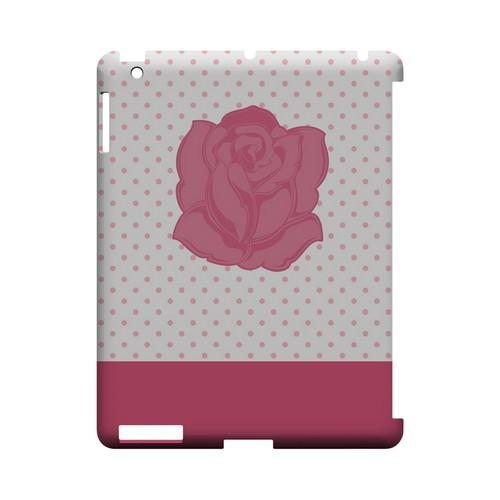 Pink Rose on White Geeks Designer Line Polka Dot Series Slim Hard Case for Apple iPad (3rd & 4th Gen.)