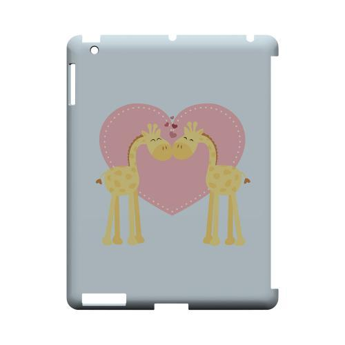 Giraffe Love on Baby Blue Geeks Designer Line Heart Series Slim Hard Case for Apple iPad (3rd & 4th Gen.)