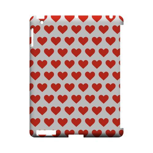Red Hearts on White Geeks Designer Line Heart Series Slim Hard Case for Apple iPad (3rd & 4th Gen.)