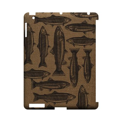 Vintage Salmon & Trout on Burlap - Geeks Designer Line (GDL) Fish Series Hard Back Cover for Apple iPad (3rd & 4th Gen.)