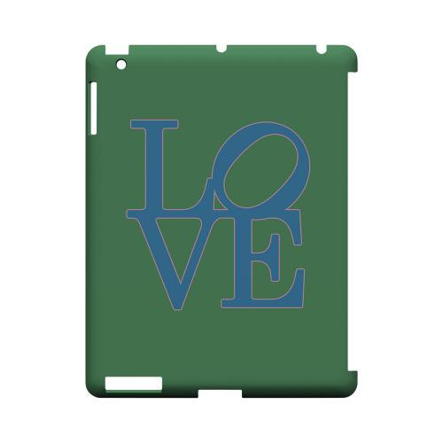 Blue Love on Green Geeks Designer Line Heart Series Slim Hard Case for Apple iPad (3rd & 4th Gen.)