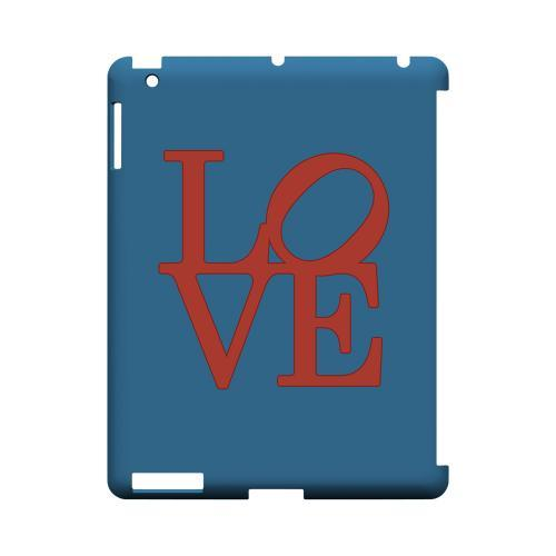 Red Love on Blue Geeks Designer Line Heart Series Slim Hard Case for Apple iPad (3rd & 4th Gen.)