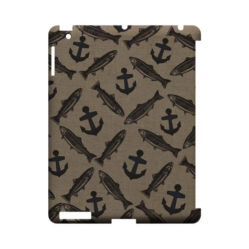 Vintage Salmon/Trout/Anchor Design - Geeks Designer Line (GDL) Fish Series Hard Back Cover for Apple iPad (3rd & 4th Gen.)