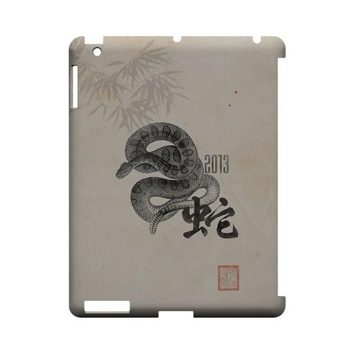Snake on Parchment Geeks Designer Line Chinese Horoscope Series Slim Hard Case for Apple iPad (3rd & 4th Gen.)