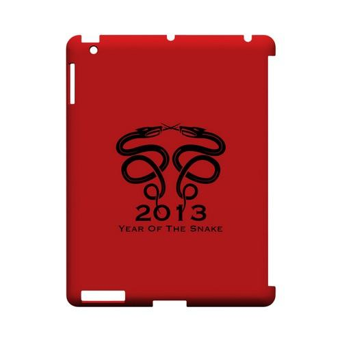 Dual Snake on Red Geeks Designer Line Chinese Horoscope Series Slim Hard Case for Apple iPad (3rd & 4th Gen.)