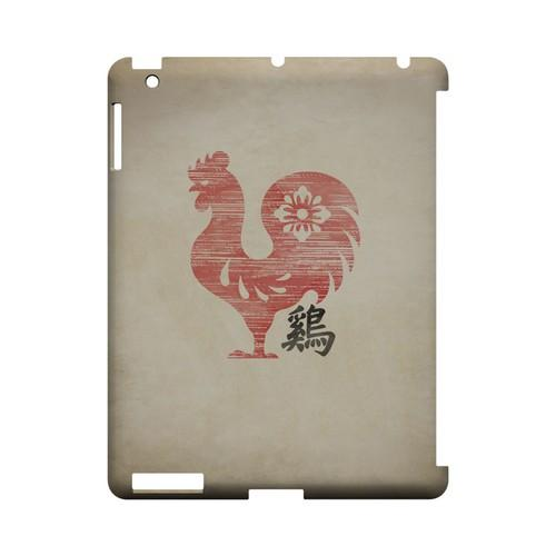 Grunge Rooster Geeks Designer Line Chinese Horoscope Series Slim Hard Case for Apple iPad (3rd & 4th Gen.)