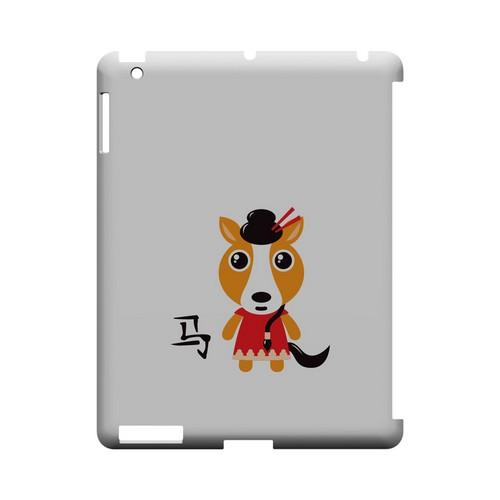 Horse on White Geeks Designer Line Chinese Horoscope Series Slim Hard Case for Apple iPad (3rd & 4th Gen.)