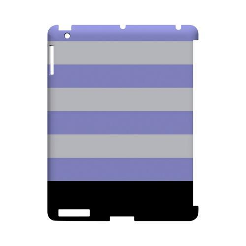 Purple Candy Stripes w/ Black Bar - Geeks Designer Line Stripe Series Hard Case for Apple iPad (3rd & 4th Gen.)