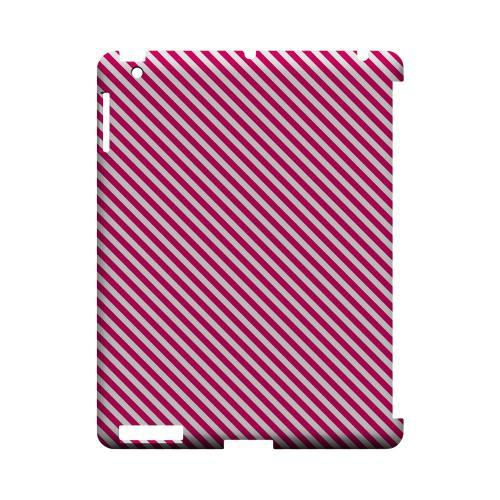 Thin Hot Pink Diagonal - Geeks Designer Line Stripe Series Hard Case for Apple iPad (3rd & 4th Gen.)