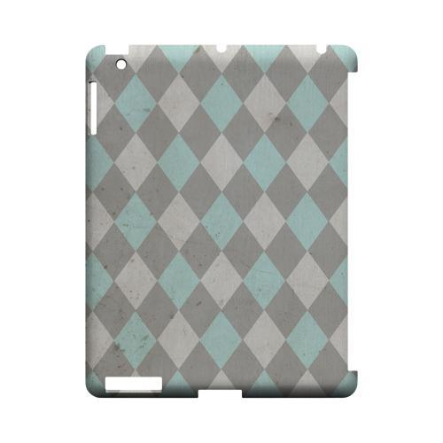 Grunge Pink/ Blue/ Gray Argyle - Geeks Designer Line Checker Series Hard Case for Apple iPad (3rd & 4th Gen.)