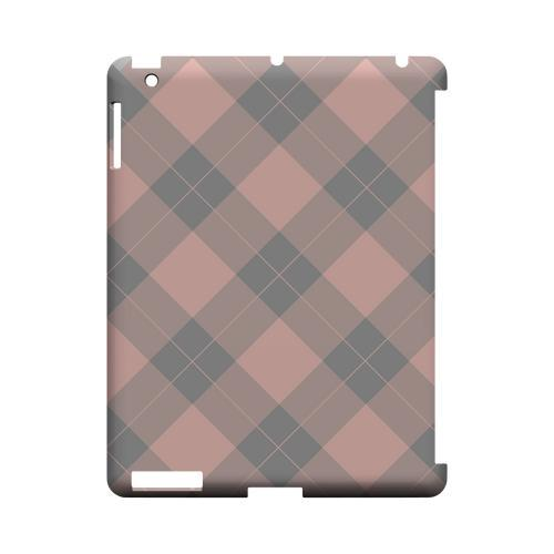 Pink/ Gray Simple Plaid - Geeks Designer Line Checker Series Hard Case for Apple iPad (3rd & 4th Gen.)