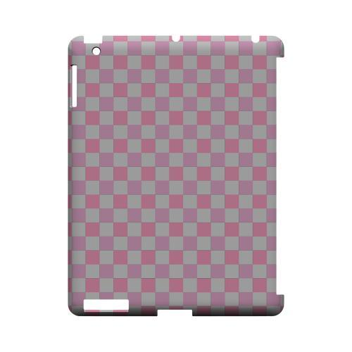 Pinkish - Geeks Designer Line Checker Series Hard Case for Apple iPad (3rd & 4th Gen.)