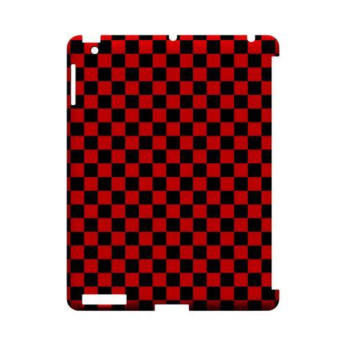 Red/ Black - Geeks Designer Line Checker Series Hard Case for Apple iPad (3rd & 4th Gen.)