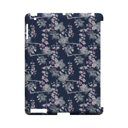 Pink/ White Floral on Blue - Geeks Designer Line Floral Series Hard Case for Apple iPad (3rd & 4th Gen.)