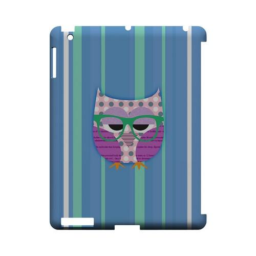 Hipster Owl on Blue/Green Stripes - Geeks Designer Line (GDL) Owl Series Hard Back Cover for Apple iPad (3rd & 4th Gen.)