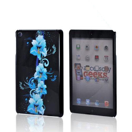 Blue Flowers on Black Hard Case for Apple iPad Mini