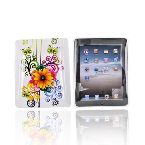 Luxmo Apple iPad (1st Gen) 1st Hard Back Cover Case - Sunflower and Butterflies on White