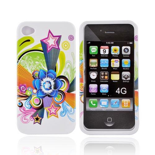Apple Verizon/ AT&T iPhone 4, iPhone 4S Hard Case - Colorful Stars and Flower on White