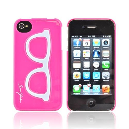 AT&T/ Verizon Apple iPhone 4, iPhone 4S Hard Case - Light Blue Geek Glasses on Hot Pink