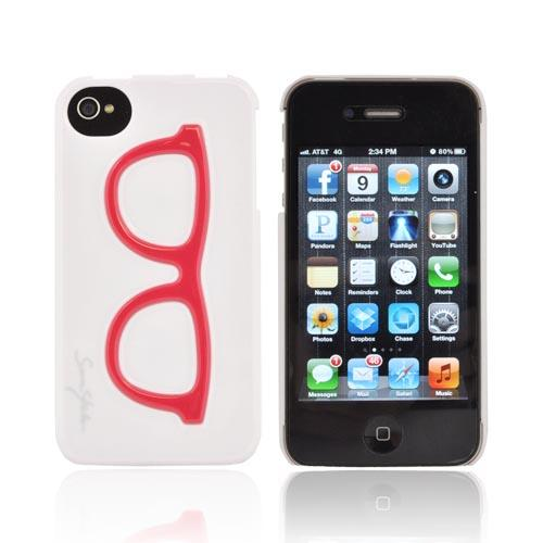 AT&T/ Verizon Apple iPhone 4, iPhone 4S Hard Case - Red Geek Glasses on White