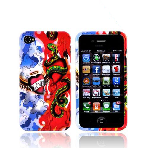 Apple Verizon/ AT&T iPhone 4, iPhone 4S Hard Case - Red/White/Blue Love Lust