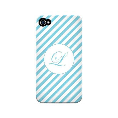 Calligraphy L on Mint Slanted Stripes - Geeks Designer Line Monogram Series Matte Case for Apple iPhone 4/4S