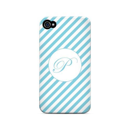 Calligraphy P on Mint Slanted Stripes - Geeks Designer Line Monogram Series Matte Case for Apple iPhone 4/4S