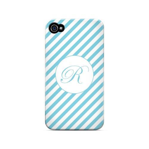 Calligraphy R on Mint Slanted Stripes - Geeks Designer Line Monogram Series Matte Case for Apple iPhone 4/4S
