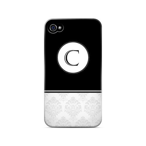 Black C w/ White Damask Design - Geeks Designer Line Monogram Series Matte Case for Apple iPhone 4/4S