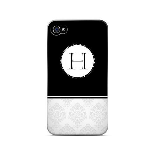 Black H w/ White Damask Design - Geeks Designer Line Monogram Series Matte Case for Apple iPhone 4/4S