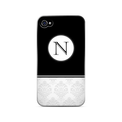 Black N w/ White Damask Design - Geeks Designer Line Monogram Series Matte Case for Apple iPhone 4/4S