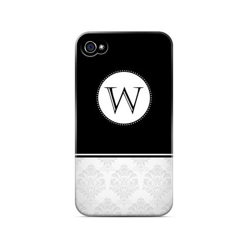Black W w/ White Damask Design - Geeks Designer Line Monogram Series Matte Case for Apple iPhone 4/4S