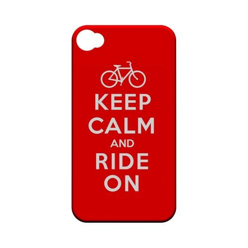 Red Ride On Geeks Designer Line Keep Calm Series Matte Hard Case for Apple iPhone 4/4S