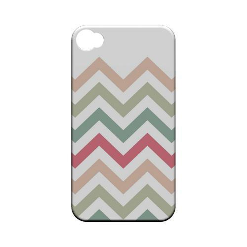 Green/ Red on White Geeks Designer Line Zig Zag Series Matte Hard Case for Apple iPhone 4/4S