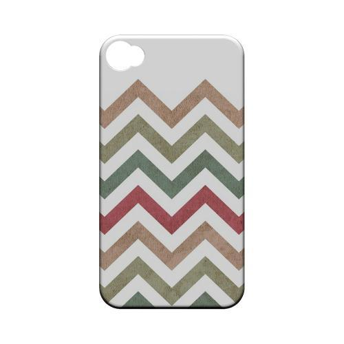 Grungy Green/ Red on White Geeks Designer Line Zig Zag Series Matte Hard Case for Apple iPhone 4/4S