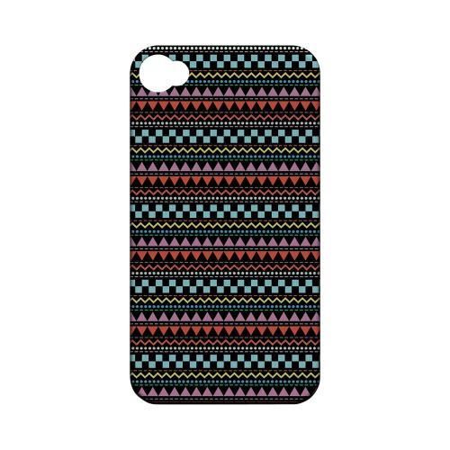 Multi-Shapes & Colors on Black Geeks Designer Line Zig Zag Series Matte Hard Case for Apple iPhone 4/4S